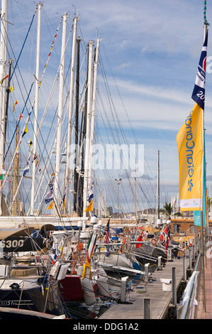 Yachts preparing for the 2013 ARC rally, 'dressed overall' in Las Palmas, Gran Canaria. - Stock Photo