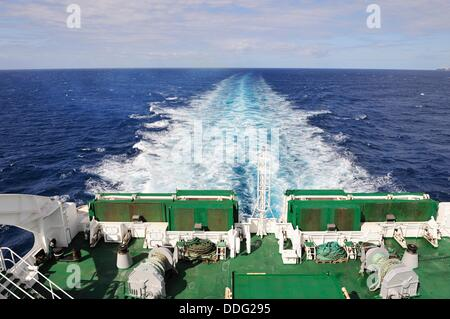 Ferry sailing in Atlantic ocean - Stock Photo