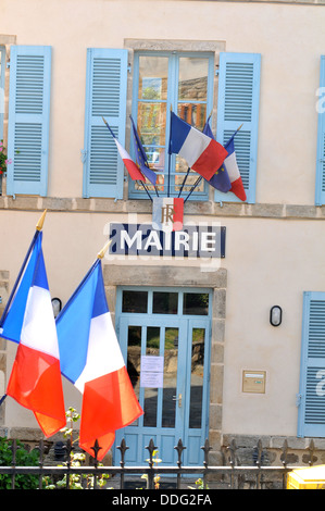 city hall in rural village Saint-Bonnet le Chastel Puy-de-Dome Auvergne Massif-Central France Europe - Stock Photo