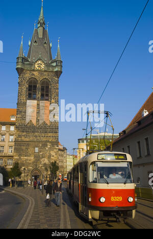 Jindrisska tower and a tram on Jindrisska street in Nove Mesto the New Town in central Prague Czech Republic Europe - Stock Photo