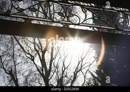 View of trees through a stained glass window - Stock Photo