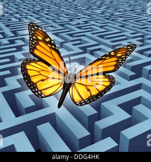Believe in yourself concept and metaphore for success with a monarch butterfly on a journey flying over a complicated - Stock Photo