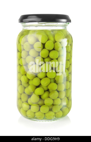 Preserved green peas in a glass jar - Stock Photo