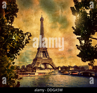 Eiffel Tower, Paris, France. Vintage, retro style art image - Stock Photo