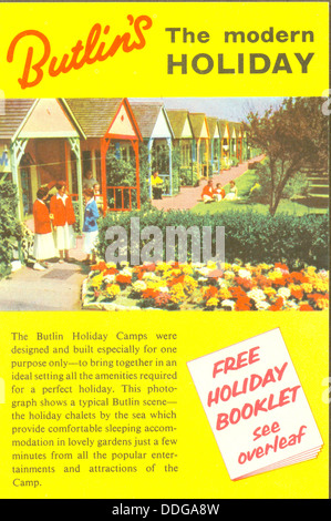 Advertising leaflet for Butlin's Holiday Camps - Stock Photo