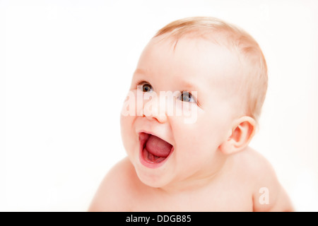 Excited baby with laughing face - Stock Photo