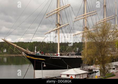 The museum ship Pommern in Mariehamn - Stock Photo