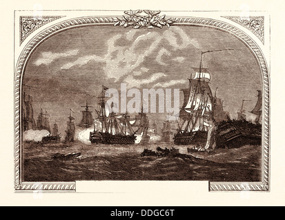 LORD HOWE'S VICTORY, OFF USHANT, JUNE 1ST, 1794. Ouessant is an island at the south-western end of the English Channel - Stock Photo