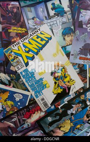 Marvel comics on the top of a Camper van superheros - Stock Photo