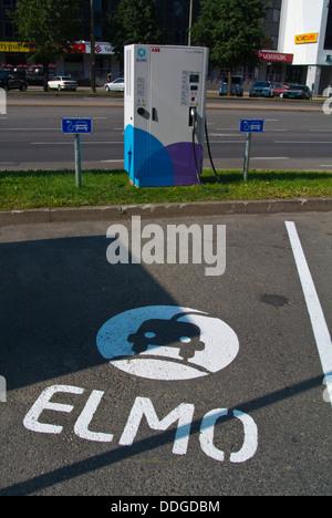 Elmo electric car charge station point Tallinn city business district Tallinn Estonia the Baltics Europe - Stock Photo