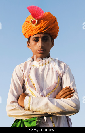 Portrait of a man in traditional Rajasthani dress, Jaipur, Rajasthan, India - Stock Photo