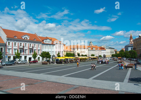 Rotuses aikste the town hall square old town Vilnius Lithuania Europe - Stock Photo