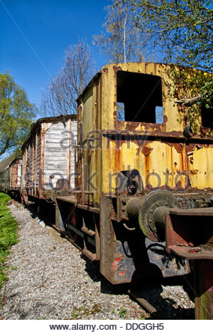 Abandoned train outside the station in Belgium - Stock Photo