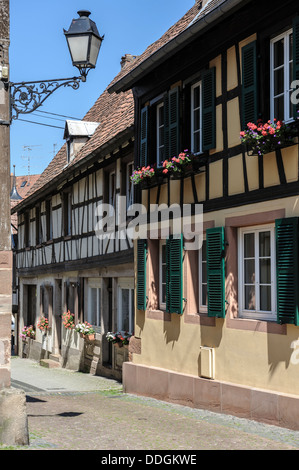 Centuries old half timbered houses in Bauxwiller, Alsace, France. - Stock Photo