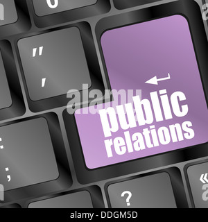 computer keyboard with public relations pr button - Stock Photo