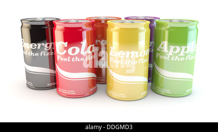different cans of soda or drinks on a white background - Stock Photo