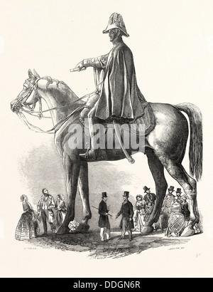 COLOSSAL STATUE OF THE DUKE OF WELLINGTON, BY M.C. WYATT, ESQ., 1846 - Stock Photo