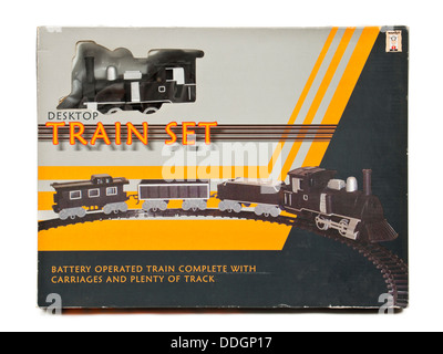 Vintage battery operated train set in original box - Stock Photo