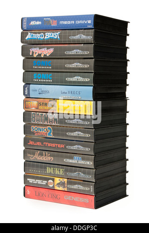 Collection of vintage late 1980's Sega Mega Drive (Genesis) video games - Stock Photo