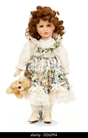 Collectable porcelain doll - Stock Photo