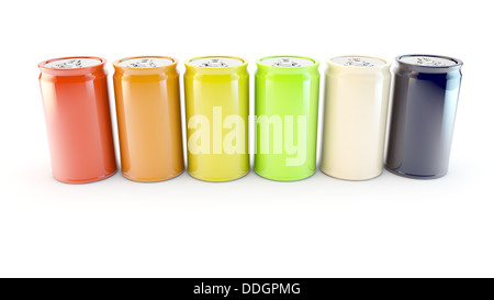 coloured cans of drink in a row in a white background - Stock Photo