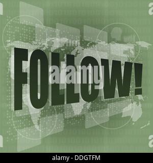word follow on digital background on digital screen - Stock Photo