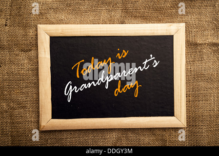 Today is grandparent's day message on black board. - Stock Photo