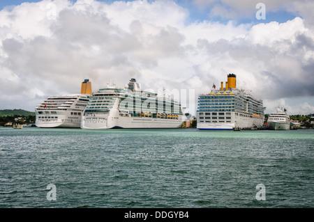 Cruise Ships St. John's Harbour Antigua - Stock Photo