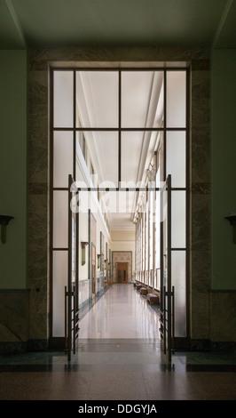 art deco door and corridor of the Palais des Nations, Geneva, Switzerland