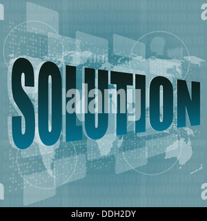 solution word button on a touch screen interface - Stock Photo