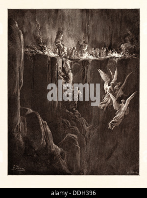 THE Perilous Pass on the eight cornice of Purgatory, BY GUSTAVE DORÉ. Gustave Dore, 1832 - 1883, French - Stock Photo