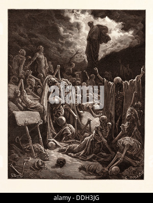 THE VISION OF THE VALLEY OF DRY BONES, EZEKIEL BY GUSTAVE DORÉ. Dore, 1832 - 1883, French. 1870, Art, Artist, romanticism - Stock Photo