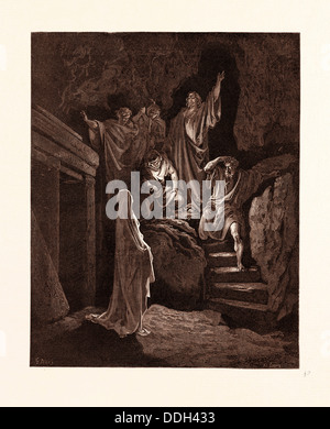 THE RESURRECTION OF LAZARUS, BY GUSTAVE DORE,  1832 - 1883, French. Engraving for the Bible. 1870, Art, Artist, - Stock Photo