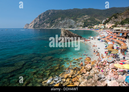 Monterosso al Mare beach, Cinque Terre, Liguria, Italy - Stock Photo