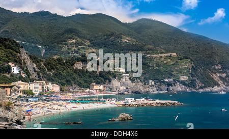 The beach of Monterosso al Mare, Cinque Terre, Liguria, Italy - Stock Photo