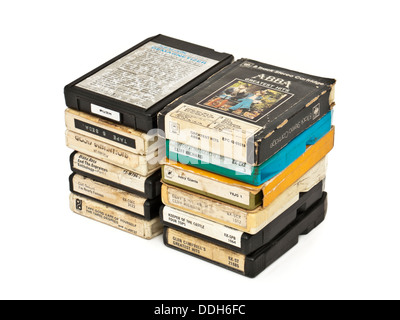 Collection of vintage 8-track stereo music cartridges from the 1970's - Stock Photo