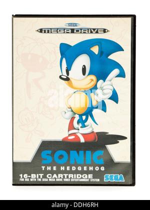 Vintage 1990's Sega Mega Drive 'Sonic the Hedgehog' video game - Stock Photo