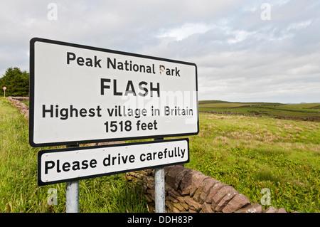 Great Britain, England, Staffordshire, Peak District, Flash Village, highest village in England sign - Stock Photo