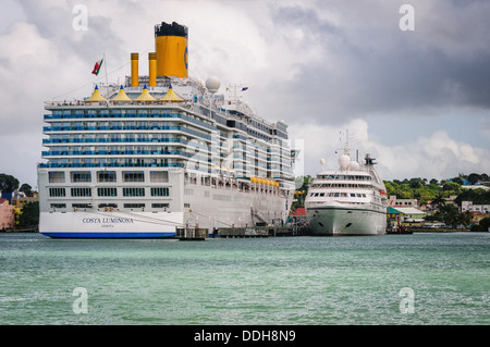 Carnival Cruises Costa Liminosa, Seabourn Cruises Seabourn Spirit, St. John's Harbour, Antigua - Stock Photo