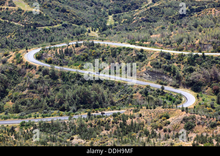 scenic and country road in the nort-west of Northern Cyprus - Stock Photo