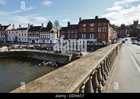 Bewdley and the River Severn from Thomas Telford's bridge looking towards Severnside South, Worcestershire, England - Stock Photo