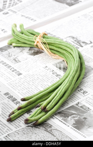 A bunch of green snake beans tied together with cooking twine on a sheet of Chinese newspaper. - Stock Photo