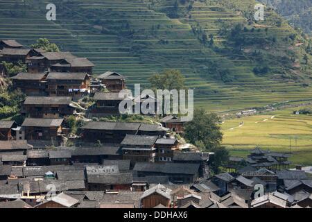 Xijiang village, Xijiang, Guizhou, China - Stock Photo