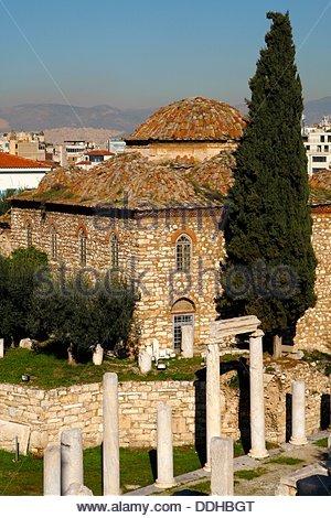 Roman Agora, market, in old Athens Greece - Stock Photo