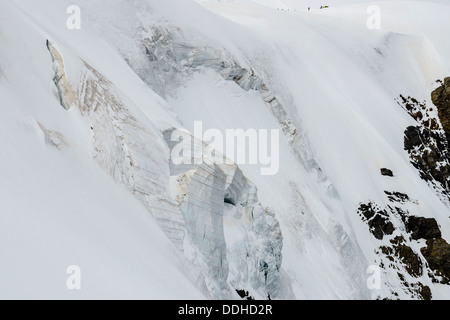 Hanging glacier on the north side of the Jungfraujoch, near Grindelwald Switzerland - Stock Photo