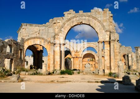 ruin of Saint Simeon Monastery, Qala´at Samaan, Qalaat Seman archeological site, Dead Cities, Syria, Middle East, - Stock Photo