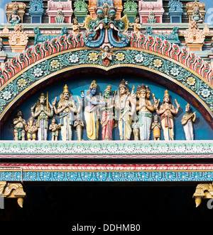 Characters from the epic Ramayana on the Gopuram or Gopura temple gateway, Meenakshi Amman Temple or Sri Meenakshi - Stock Photo