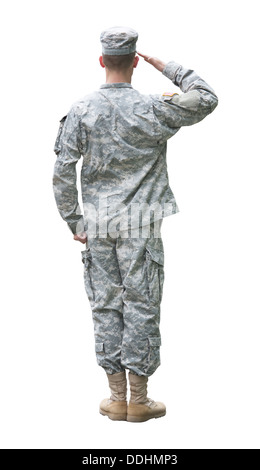US Army soldier in Saluting position. Back view, isolated on white background - Stock Photo