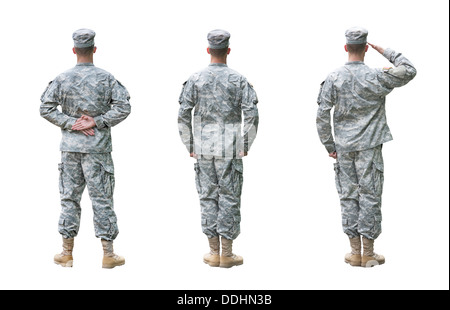US Army soldier in three positions; Parade rest, Attention, Saluting. Back view, isolated on white background - Stock Photo