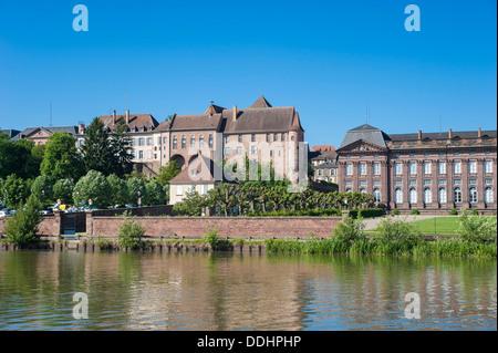 Old castle on the Marne–Rhine Canal, Saverne, Département Bas-Rhin, Alsace, France - Stock Photo